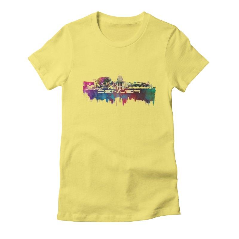 Denver skyline Women's Fitted T-Shirt by jbjart Artist Shop