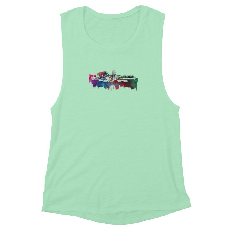 Denver skyline Women's Muscle Tank by jbjart Artist Shop