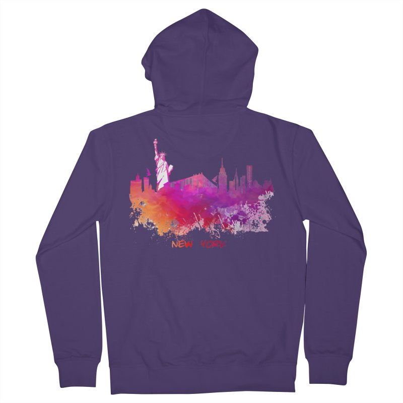 New York Women's French Terry Zip-Up Hoody by jbjart Artist Shop