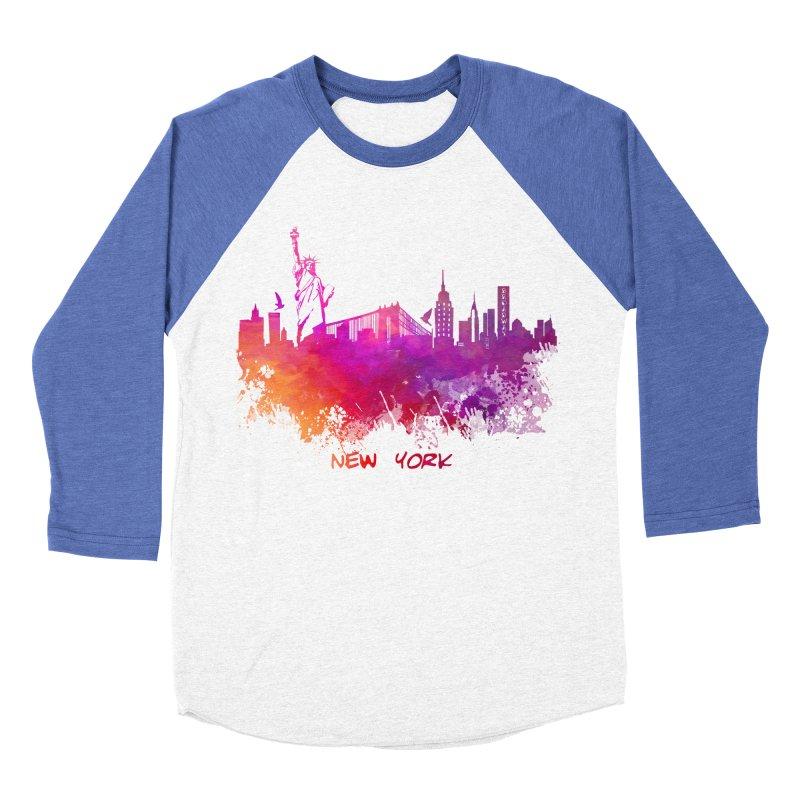 New York Men's Baseball Triblend Longsleeve T-Shirt by jbjart Artist Shop
