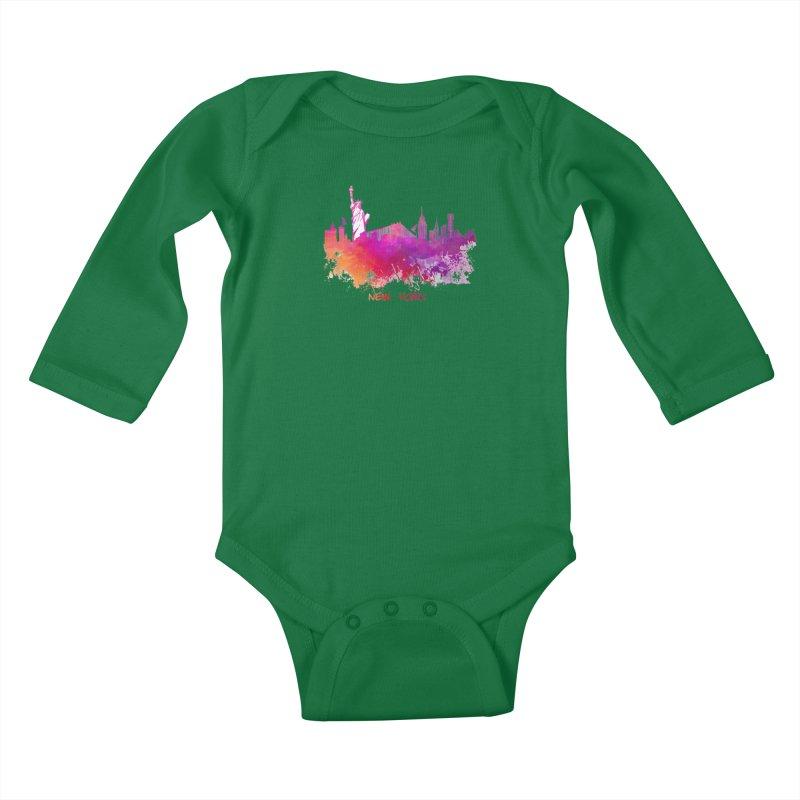 New York Kids Baby Longsleeve Bodysuit by jbjart Artist Shop
