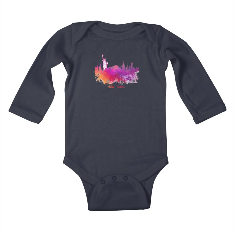 New York Kids Baby Longsleeve Bodysuit by jbjart Artist Shop