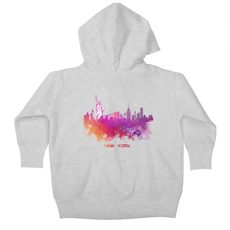 New York Kids Baby Zip-Up Hoody by jbjart Artist Shop