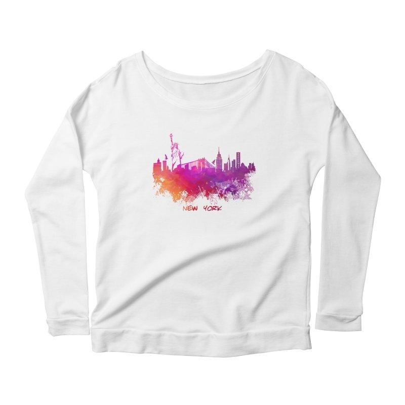 New York Women's Scoop Neck Longsleeve T-Shirt by jbjart Artist Shop