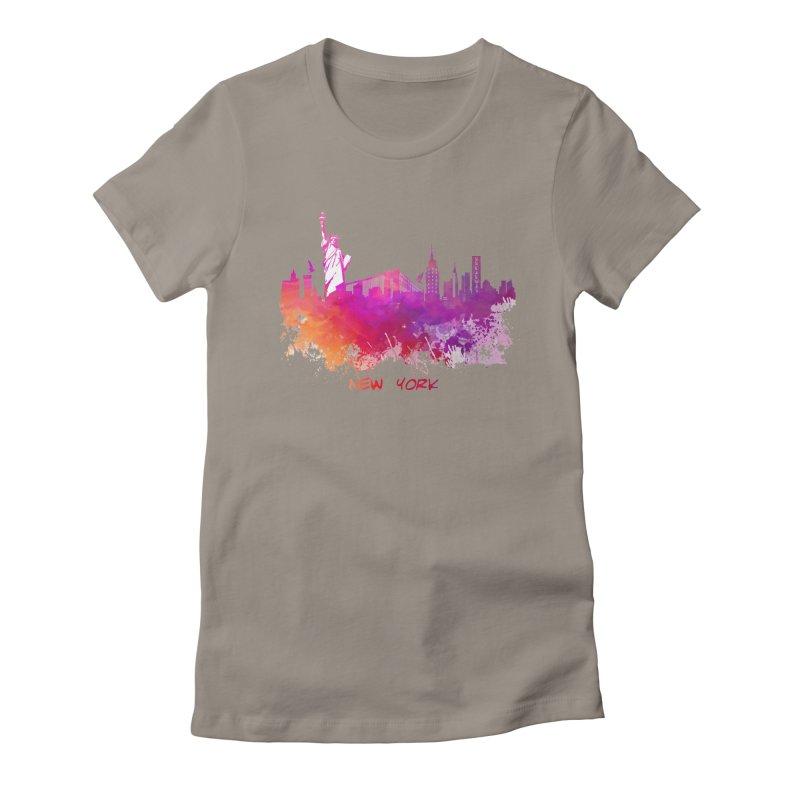 New York Women's Fitted T-Shirt by jbjart Artist Shop