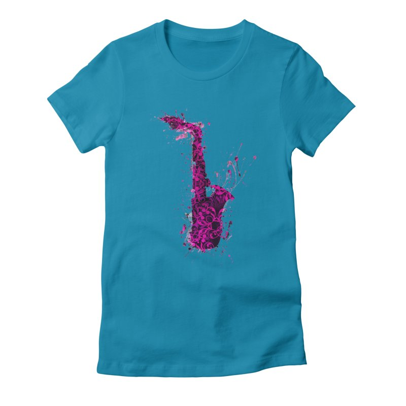 Saxophone Women's Fitted T-Shirt by jbjart Artist Shop