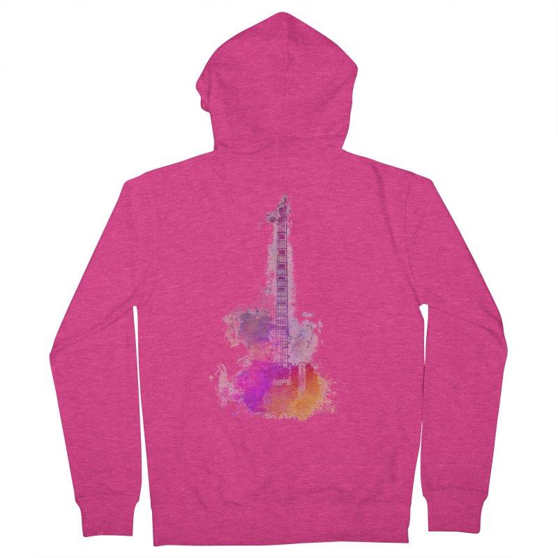Guitar pink Women's French Terry Zip-Up Hoody by jbjart Artist Shop