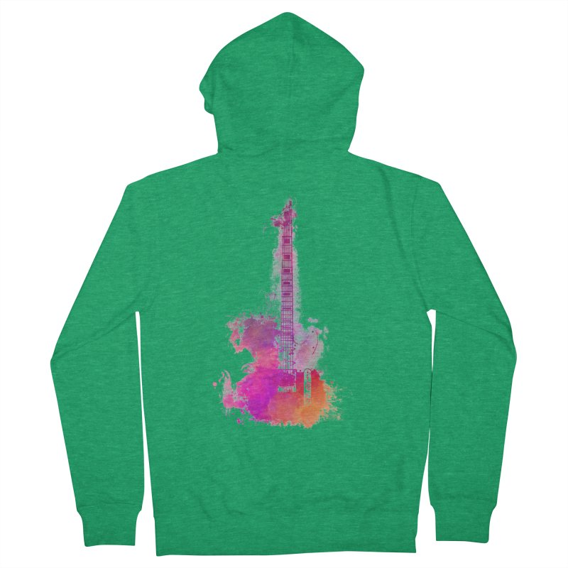 Guitar pink Men's Zip-Up Hoody by jbjart Artist Shop