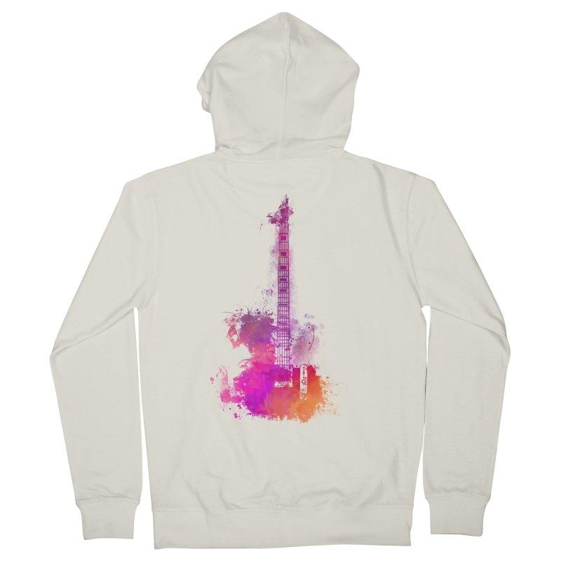Guitar pink Men's French Terry Zip-Up Hoody by jbjart Artist Shop
