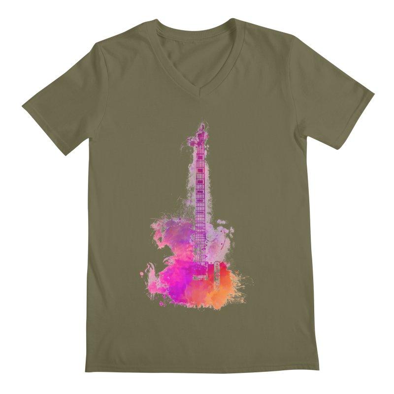 Guitar pink Men's Regular V-Neck by jbjart Artist Shop