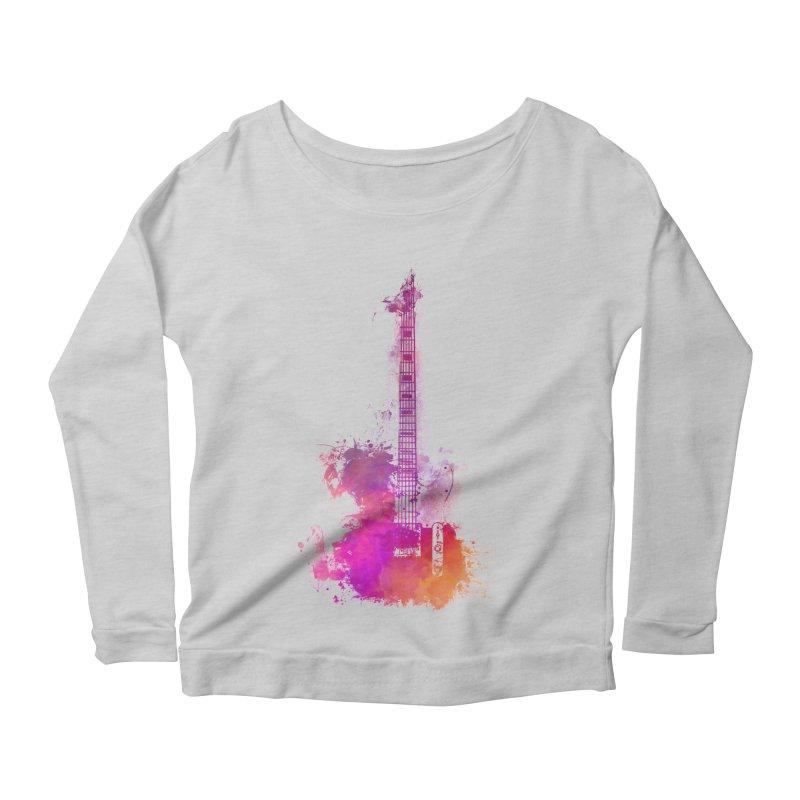 Guitar pink Women's Scoop Neck Longsleeve T-Shirt by jbjart Artist Shop