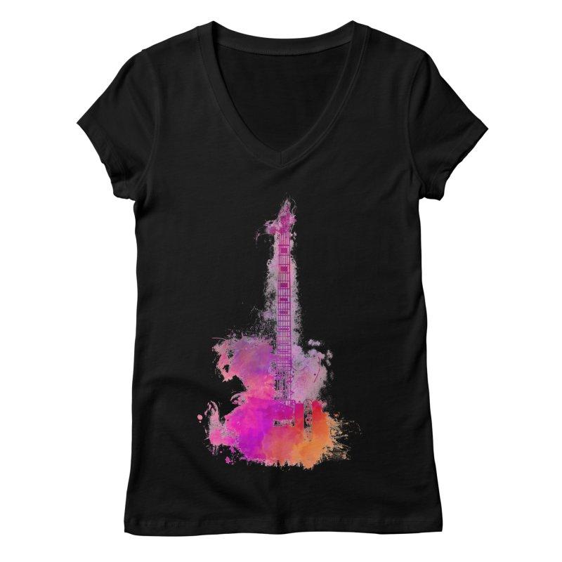 Guitar pink Women's V-Neck by jbjart Artist Shop