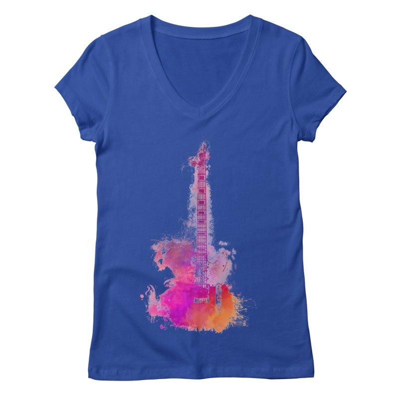 Guitar pink Women's Regular V-Neck by jbjart Artist Shop