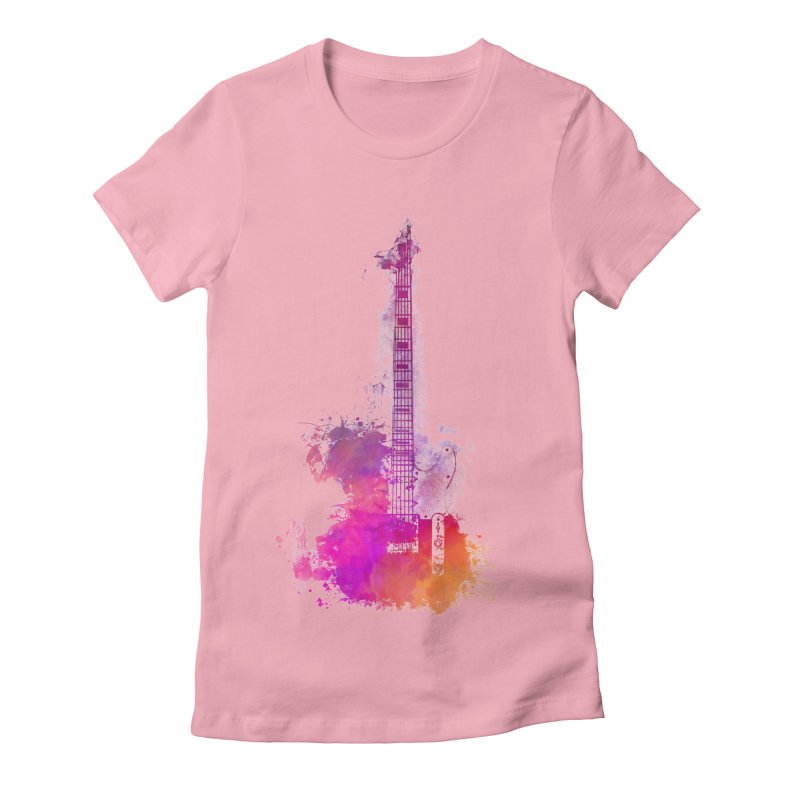 Guitar pink Women's Fitted T-Shirt by jbjart Artist Shop