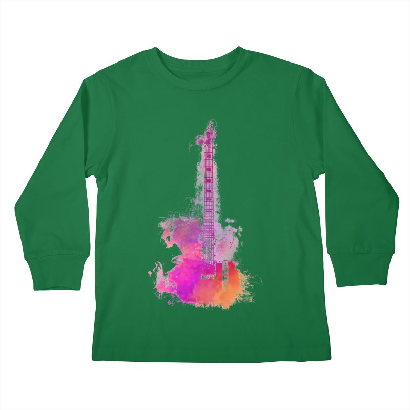 Guitar pink Kids Longsleeve T-Shirt by jbjart Artist Shop