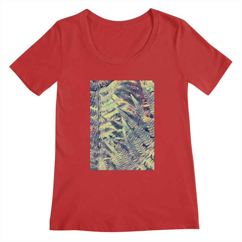 ferns flora art Women's Regular Scoop Neck by jbjart Artist Shop