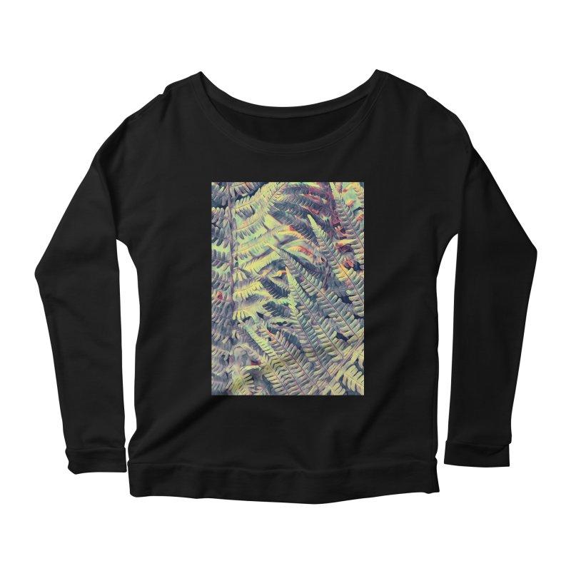 ferns flora art Women's Scoop Neck Longsleeve T-Shirt by jbjart Artist Shop