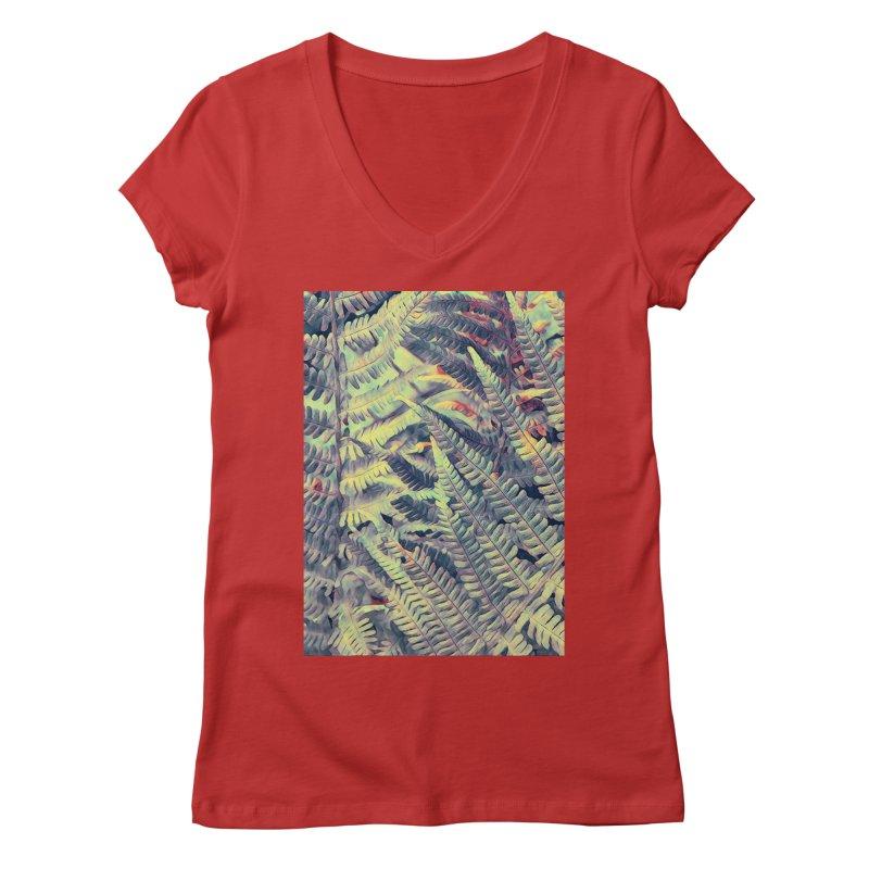 ferns flora art Women's Regular V-Neck by jbjart Artist Shop