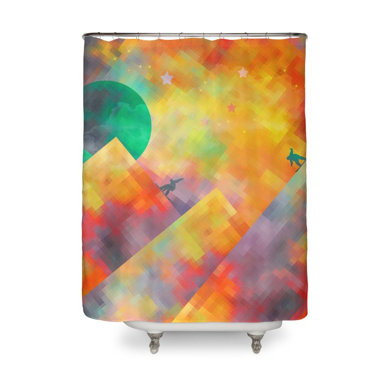 Snowboard Home Shower Curtain by jbjart Artist Shop