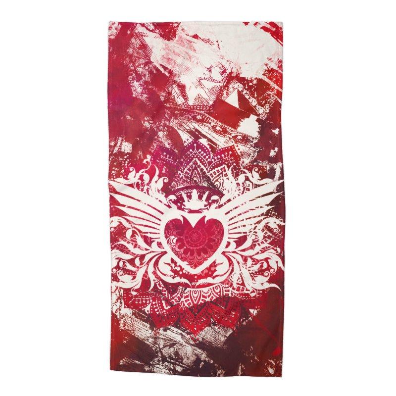Red Heart Accessories Beach Towel by jbjart Artist Shop