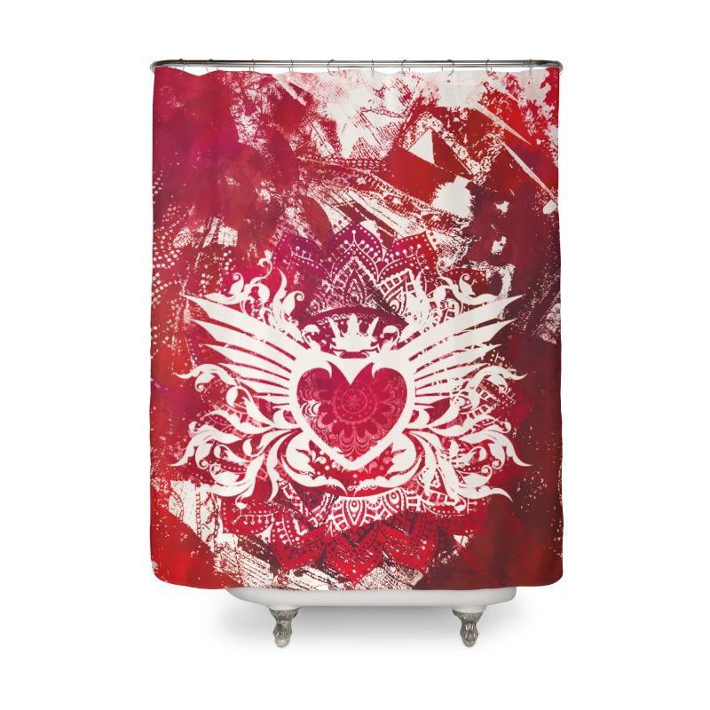 Red Heart Home Shower Curtain by jbjart Artist Shop