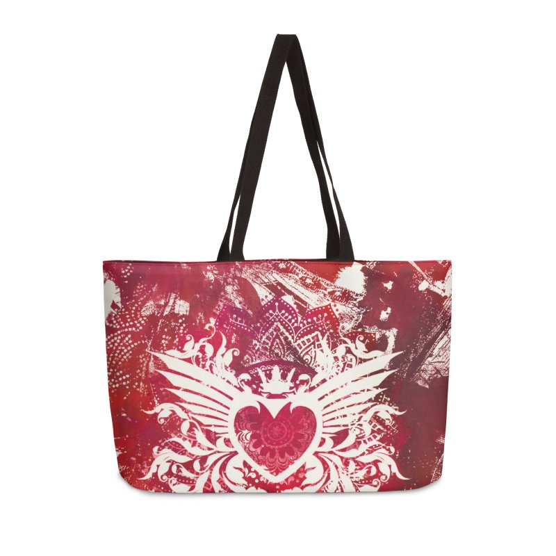 Red Heart Accessories Weekender Bag Bag by jbjart Artist Shop