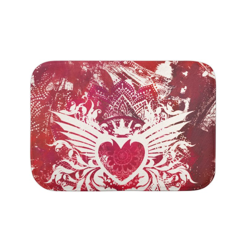 Red Heart Home Bath Mat by jbjart Artist Shop