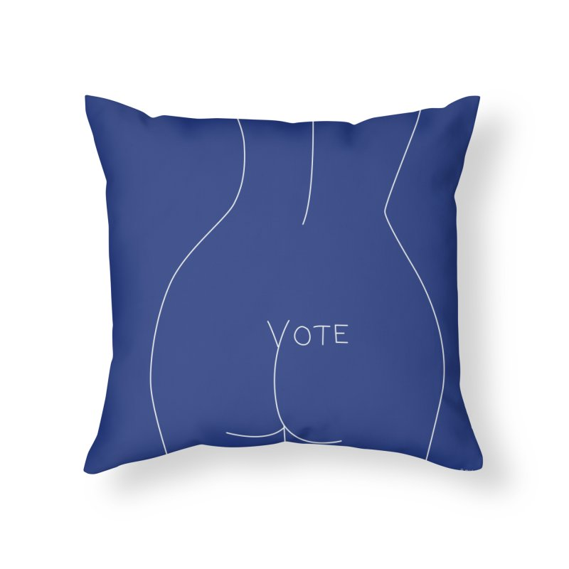 VOTE, No.2 (blue) Home Throw Pillow by J.BJÖRK: minimalist printed artworks