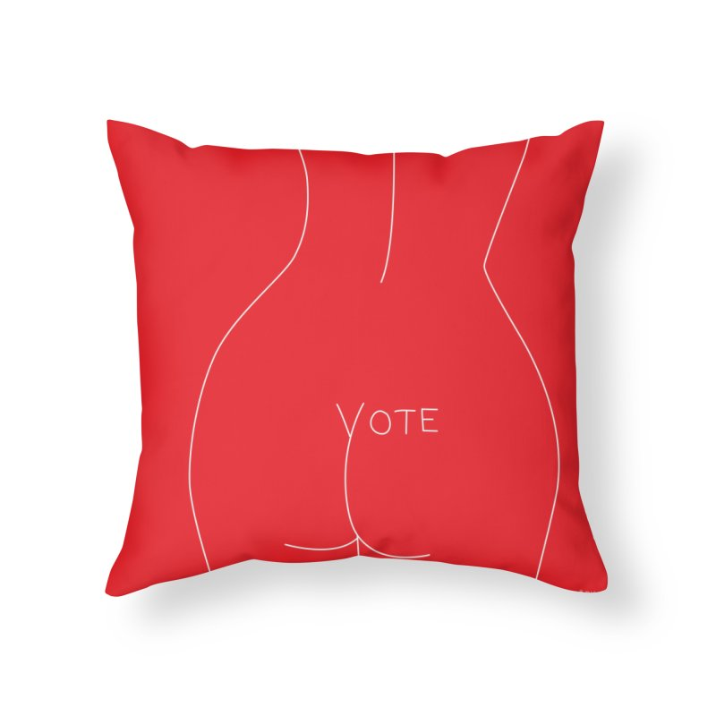 VOTE, No.2 (red) Home Throw Pillow by J.BJÖRK: minimalist printed artworks