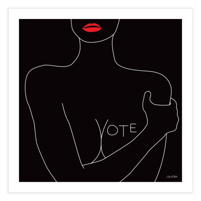 VOTE, No.3 (black) Home Throw Pillow by J.BJÖRK: minimalist printed artworks