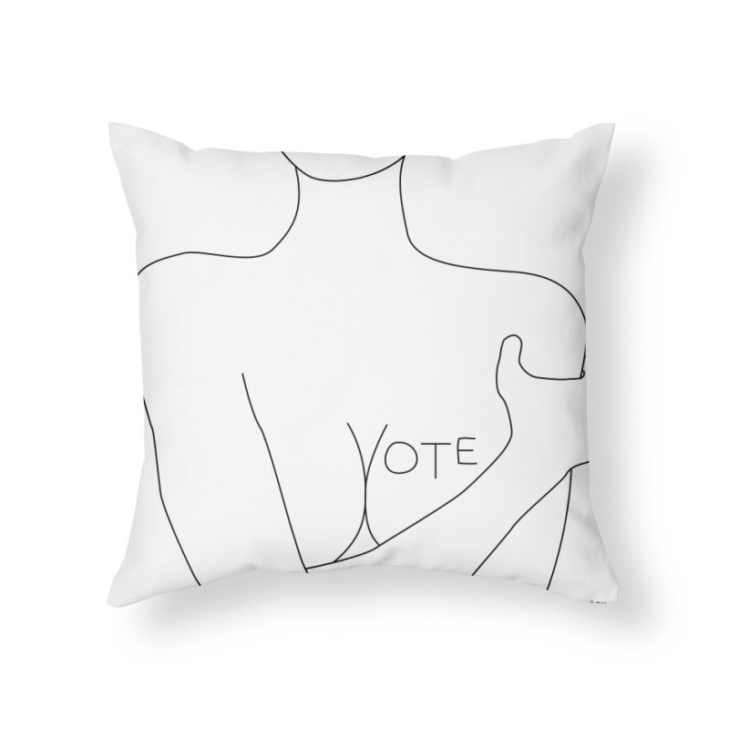 VOTE, No.3 (white) Home Throw Pillow by J.BJÖRK: minimalist printed artworks