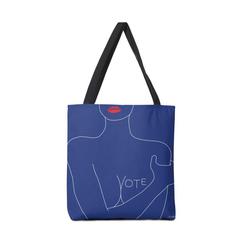 VOTE, No.3 (blue) Accessories Tote Bag Bag by J.BJÖRK: minimalist printed artworks