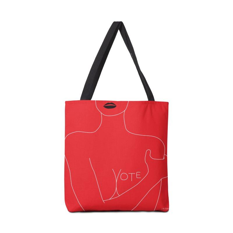 VOTE, No.3 (red) Accessories Tote Bag Bag by J.BJÖRK: minimalist printed artworks