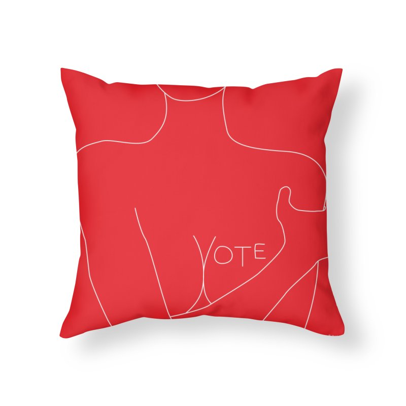 VOTE, No.3 (red) Home Throw Pillow by J.BJÖRK: minimalist printed artworks