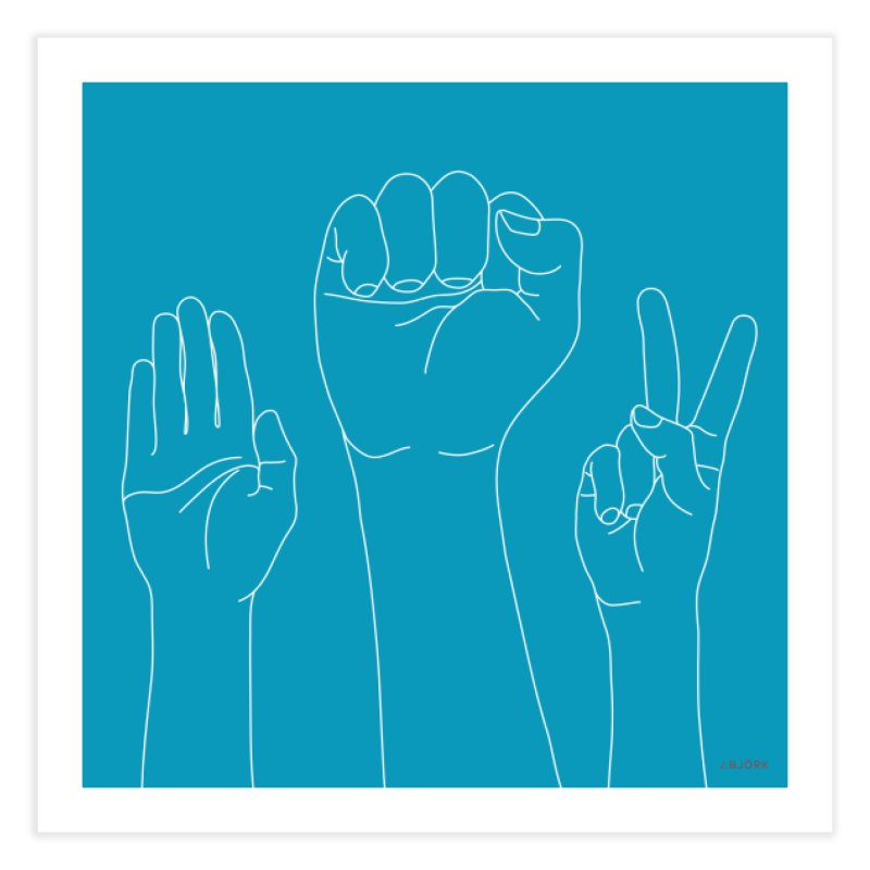 Standing Rock Paper Scissors (blue) Home Fine Art Print by J.BJÖRK: minimalist printed artworks