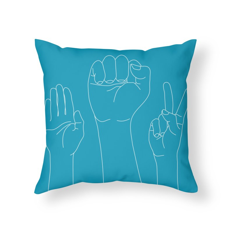 Standing Rock Paper Scissors (blue) Home Throw Pillow by J.BJÖRK: minimalist printed artworks