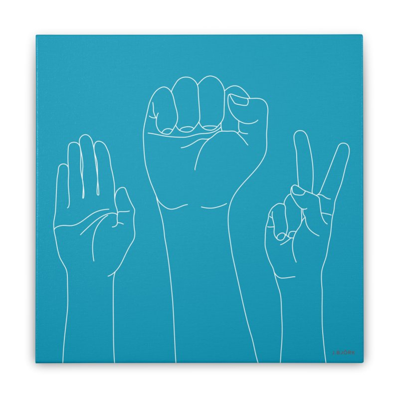Standing Rock Paper Scissors (blue) Home Stretched Canvas by J.BJÖRK: minimalist printed artworks
