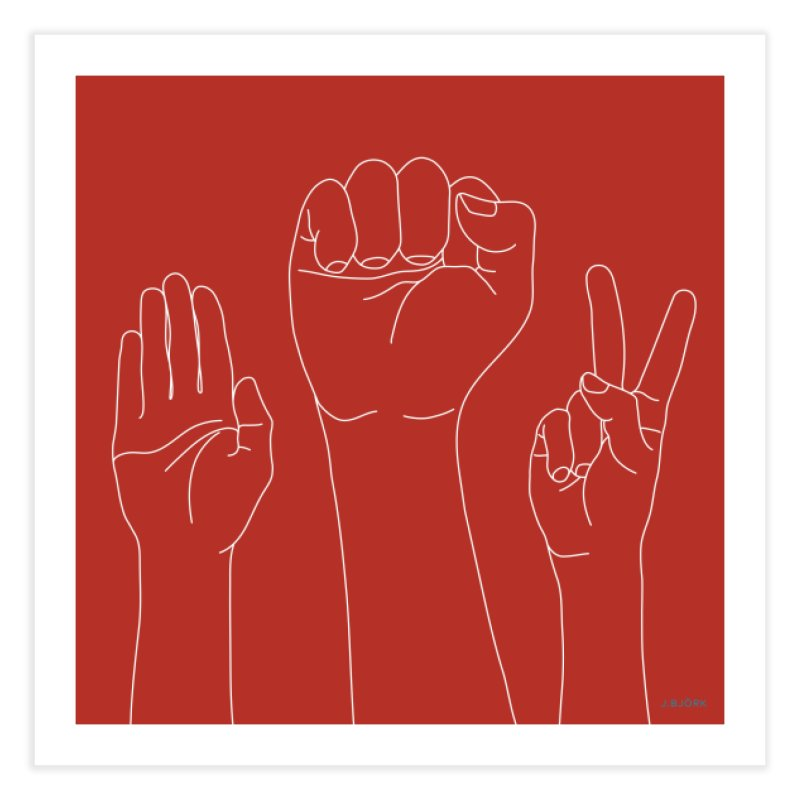 Standing Rock Paper Scissors (red) Home Fine Art Print by J.BJÖRK: minimalist printed artworks