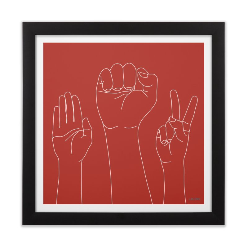 Standing Rock Paper Scissors (red) Home Framed Fine Art Print by J.BJÖRK: minimalist printed artworks