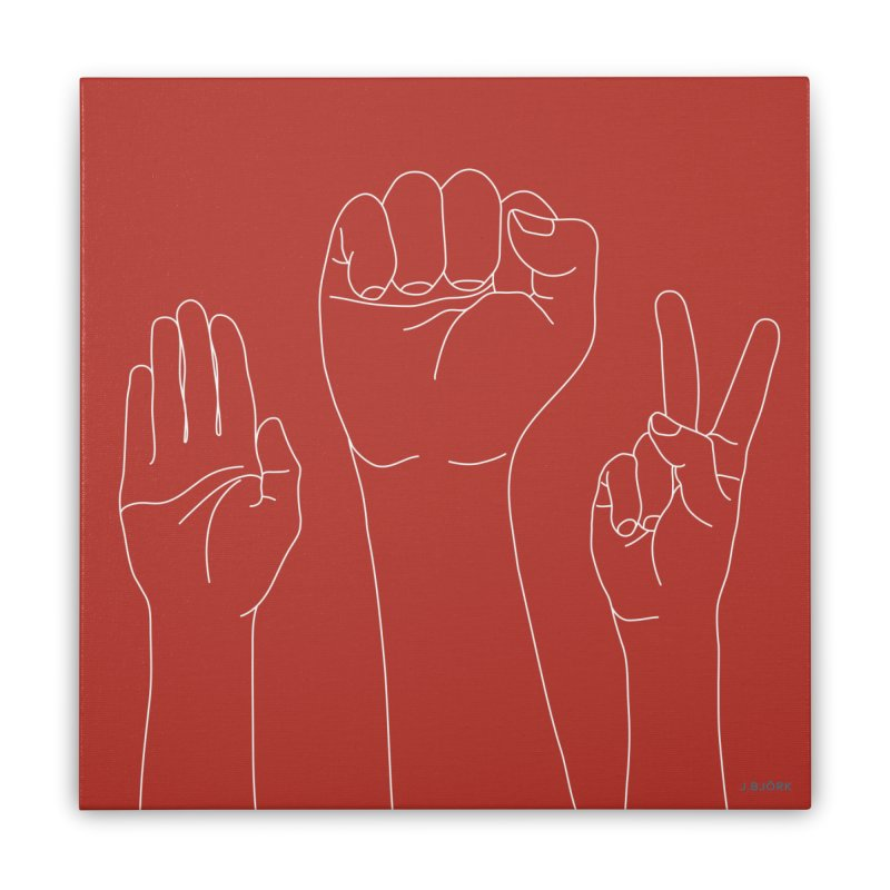 Standing Rock Paper Scissors (red) Home Stretched Canvas by J.BJÖRK: minimalist printed artworks
