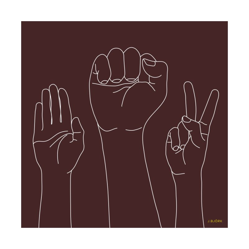 Standing Rock Paper Scissors (brown) Home Fine Art Print by J.BJÖRK: minimalist printed artworks