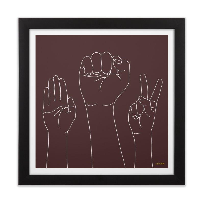 Standing Rock Paper Scissors (brown) Home Framed Fine Art Print by J.BJÖRK: minimalist printed artworks
