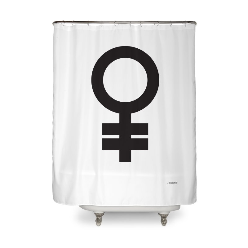 Feminism = Equality (black) Home Shower Curtain by J.BJÖRK: minimalist printed artworks