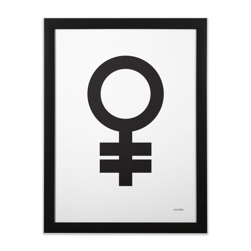 Feminism = Equality (black) Home Framed Fine Art Print by J.BJÖRK: minimalist printed artworks