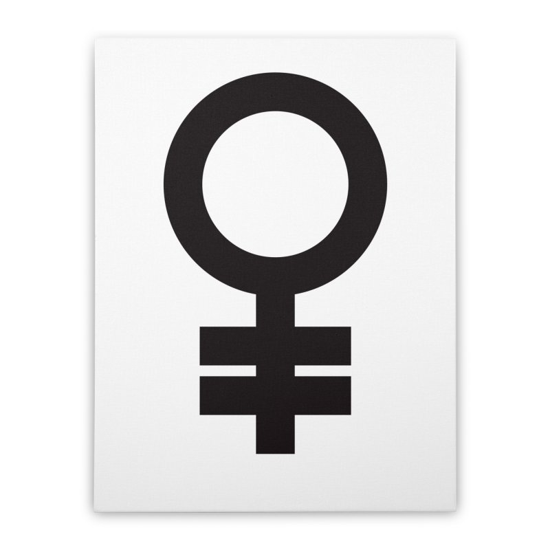 Feminism = Equality (black) Home Stretched Canvas by J.BJÖRK: minimalist printed artworks