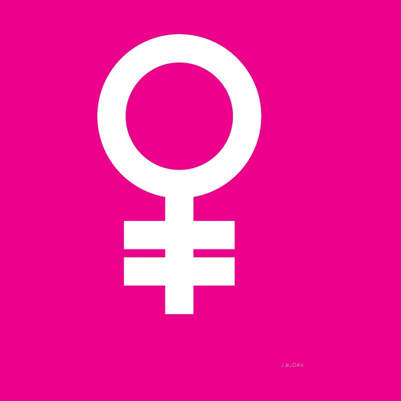 Feminism = Equality (white) by J.BJÖRK: minimalist printed artworks