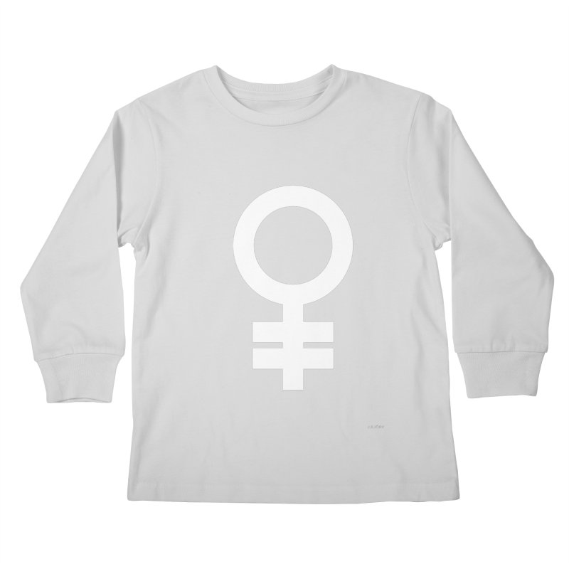 Feminism = Equality (white) Kids Longsleeve T-Shirt by J.BJÖRK: minimalist printed artworks