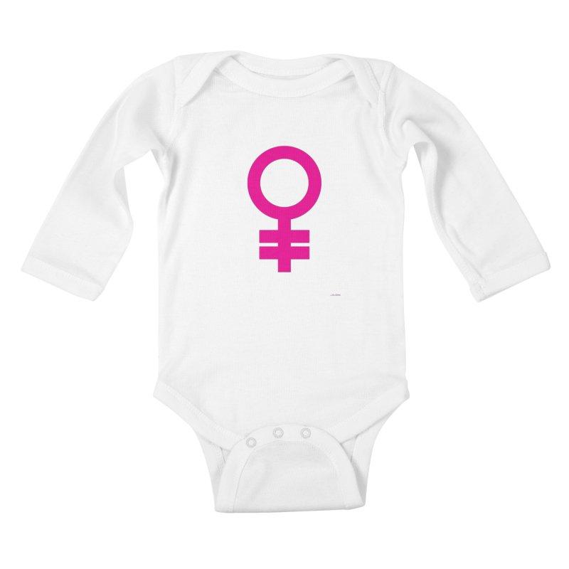 Feminism = Equality (pink) Kids Baby Longsleeve Bodysuit by J.BJÖRK: minimalist printed artworks