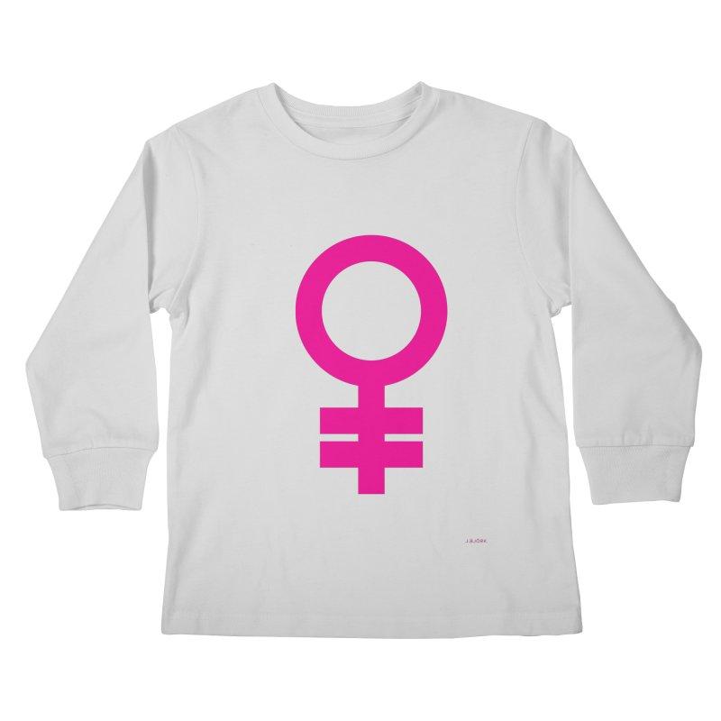 Feminism = Equality (pink) Kids Longsleeve T-Shirt by J.BJÖRK: minimalist printed artworks