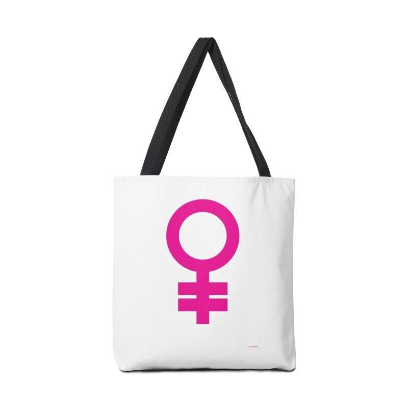 Feminism = Equality (pink) Accessories Bag by J.BJÖRK: minimalist printed artworks